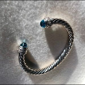 David Yurman Diamond and Aquamarine Bracelet